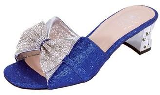 Floral FLORAL Farrah Women Wide Width Rhinestone Bow Slip-On Pretty Ornate Block Heel Sandals