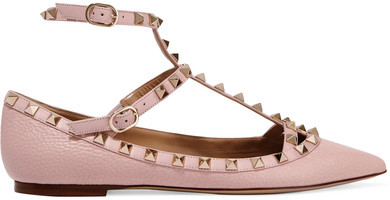 Valentino - Rockstud Textured-leather Point-toe Flats - Blush