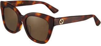 Gucci Square Acetate Tortoiseshell Sunglasses