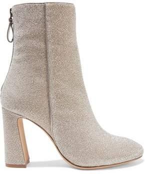 Alexandre Birman Corella Metallic Stretch-knit Ankle Boots