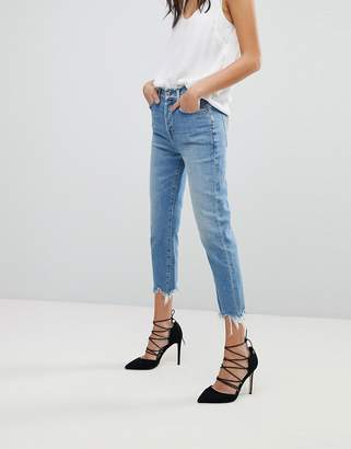 7 For All Mankind Josefina High Waist Boyfriend Jeans With Distressed Waist and Hem