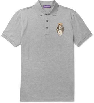 Ralph Lauren Purple Label Bear-Appliquéd Cotton-Piqué Polo Shirt