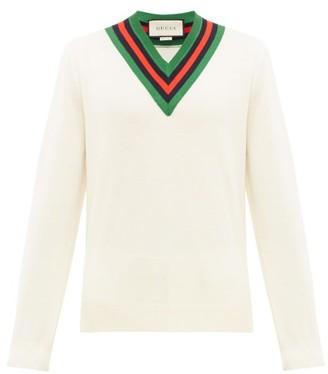 Gucci Web Stripe V Neck Wool Sweater - Mens - White