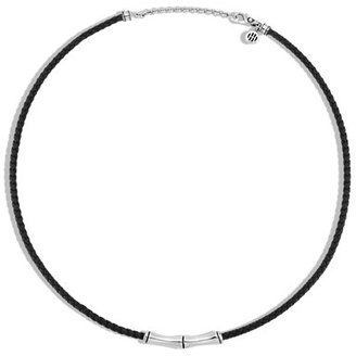 John Hardy Men's Bamboo Collection Woven Leather & Sterling Silver Necklace, Black $395 thestylecure.com