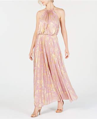 MSK Metallic-Print Pleated Maxi Gown