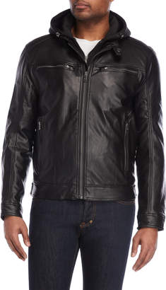 Michael Kors Black Hooded Faux Leather Jacket
