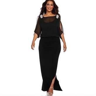 BOLUOYI 2055 Midi Dresses for Women Summer Formal,Maxi Dresses for Women Beach,Dresses Women Plus Size Summer Women Ladies Solid Color Long Sleeve Slit Long Dress Sale!
