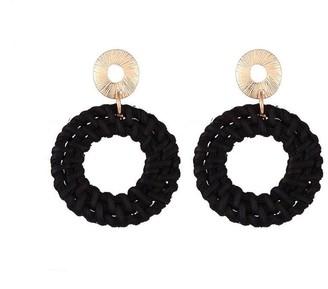 Jon Richard Jewellery Black Woven Drop Hoop Pendant Earrings