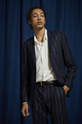 Urban Outfitters Navy Blue Pinstripe Slim Fit Single Breasted Suit Blazer