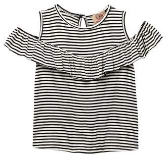 AMERICAN THREADS Cold Shoulder Striped Shirt (Little Girls)