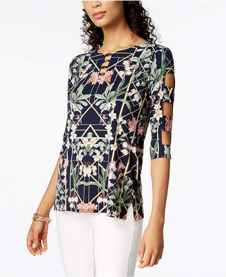 JM Collection Printed Lattice-Sleeve Top, Created for Macy's