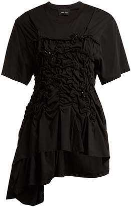Simone Rocha Cotton-jersey ruched bead-embellished T-shirt