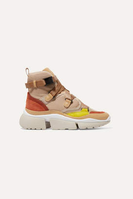 Chloé Sonnie Canvas, Mesh, Suede And Leather High-top Sneakers - Beige