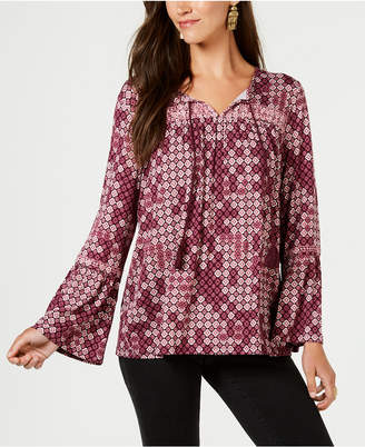Style&Co. Style & Co Printed Embroidered Peasant Blouse