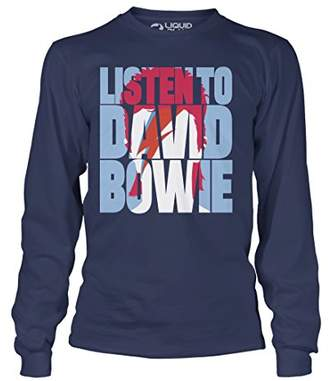 Liquid Blue Unisex-Adult's David Listen to Bowie Aladdin Sane Long Sleeve TEE
