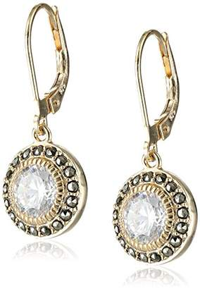 Judith Jack en Class Sterling Silver Yellow -Tone Marcasite Cubic-Zirconia Drop Earrings