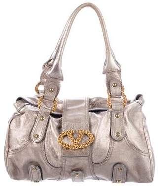 Valentino Metallic Leather Catch Bag