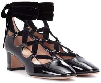 Valentino Garavani lace-up patent leather pumps