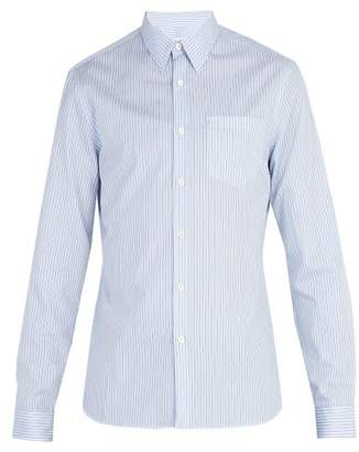 Prada Single Cuff Striped Cotton Poplin Shirt - Mens - Blue Multi