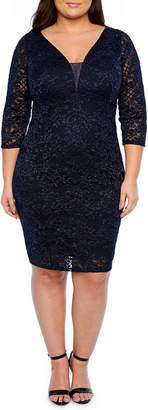 BLU SAGE Blu Sage Long Sleeve Party Dress-Plus