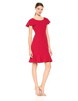 Eliza J Women's Short Sleeve Sheath Dress with Ruffle Hem