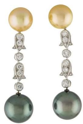 Cartier Platinum Pearl & Diamond Drop Earrings