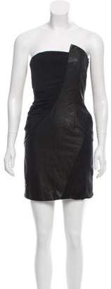 Alice + Olivia Silk Leather-Paneled Dress