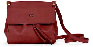 Il Bisonte Large Leather Flap Crossbody Bag, Red