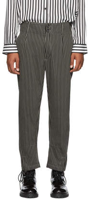 Ann Demeulemeester Black and Beige Cotton Buckley Trousers