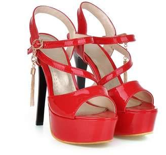 Mini Women's High Heeled Ankle Strap Anti-slip Open-toe Platform Sandals(8.5,)