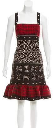 Oscar de la Renta Abstract Print Knee-Length Dress