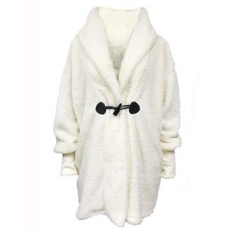 Forart Women Long Hood Coat Loose Faux Fur Shawl Wrap Stole Shrug Poncho Cape