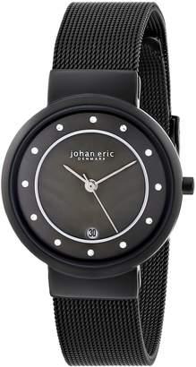 Johan Eric Women's JE6000-13-007B Arhus Black Mesh Stainless Steel Date Watch