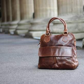The Leather Store Colston Leather Pleat Pocket Tote