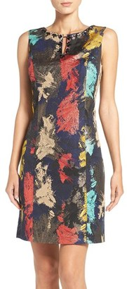 Women's Ellen Tracy Embellished Metallic Jacquard Sheath Dress $138 thestylecure.com