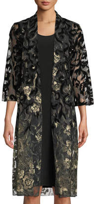 Caroline Rose Velvet Lace Duster Jacket, Plus Size