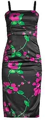 Milly Women's Dayna Floral On Satin Sheath Dress - Size 0