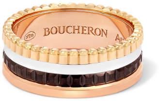 Boucheron Quatre Classique Small 18-karat Yellow, Rose And White Gold Ring