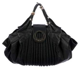 Versace Ribbed Leather Hobo