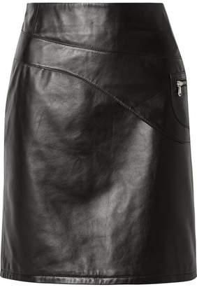 Sandy Liang - Blossom Paneled Leather Skirt - Black