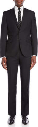 English Laundry Two-Piece Black Tonal Stripe Wool Suit