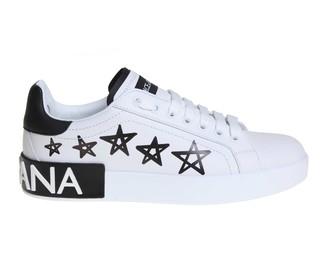 Dolce & Gabbana Sneakers Portofino In Printed Calfskin White Color