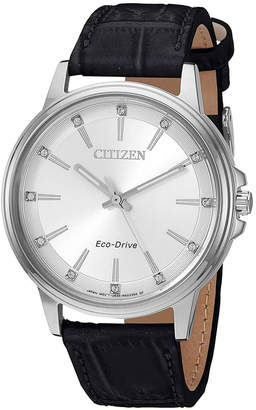 Citizen 37mm Chandler Crystal Watch w/ Leather Strap
