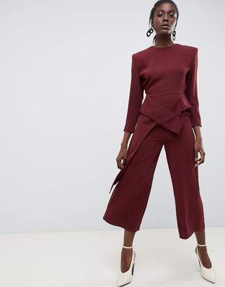 Asos Wide Leg Jumpsuit With Shoulder Pads