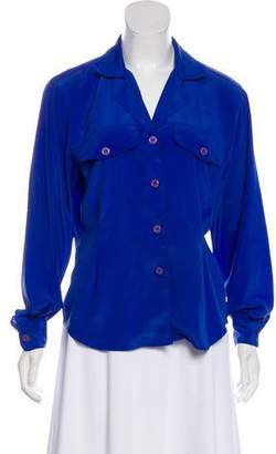 Christian Dior Notched-Lapel Long Sleeve Top