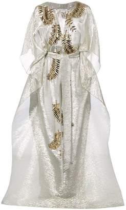 Oscar de la Renta embellished cascade wrap dress