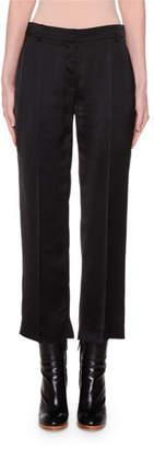 Agnona Cropped Slim-Leg Satin Pants
