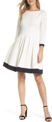 Eliza J Dot Textured Fit & Flare Dress
