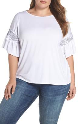 Vince Camuto Dropped Smock Shoulder Ruffle Sleeve Top