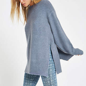 River Island Womens Blue split side knit jumper